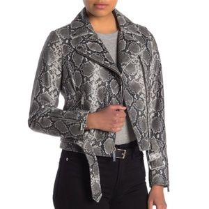 SALE Michael Kors Snakeskin Belted Moto Jacket